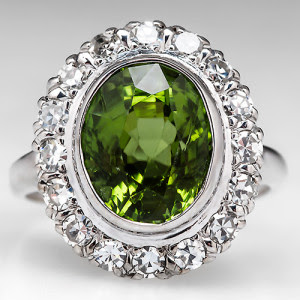 Bezel Set Peridot Cocktail Ring with Diamonds