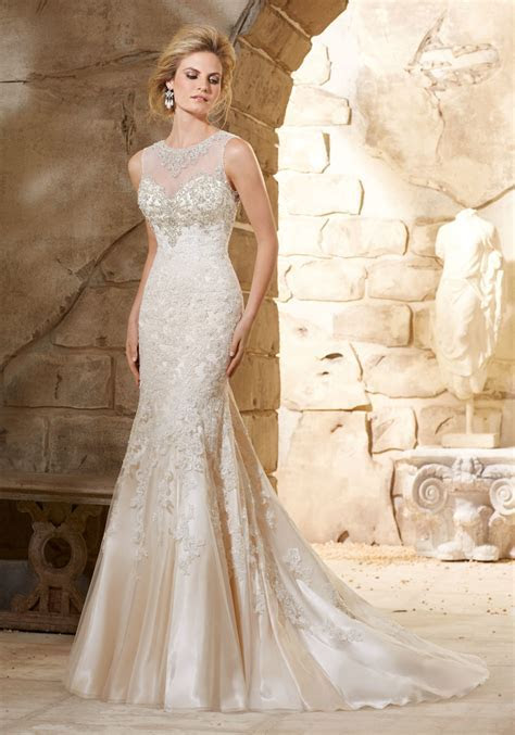 Beaded Bodice on Lace over Soft Satin Bridal Gown   Style