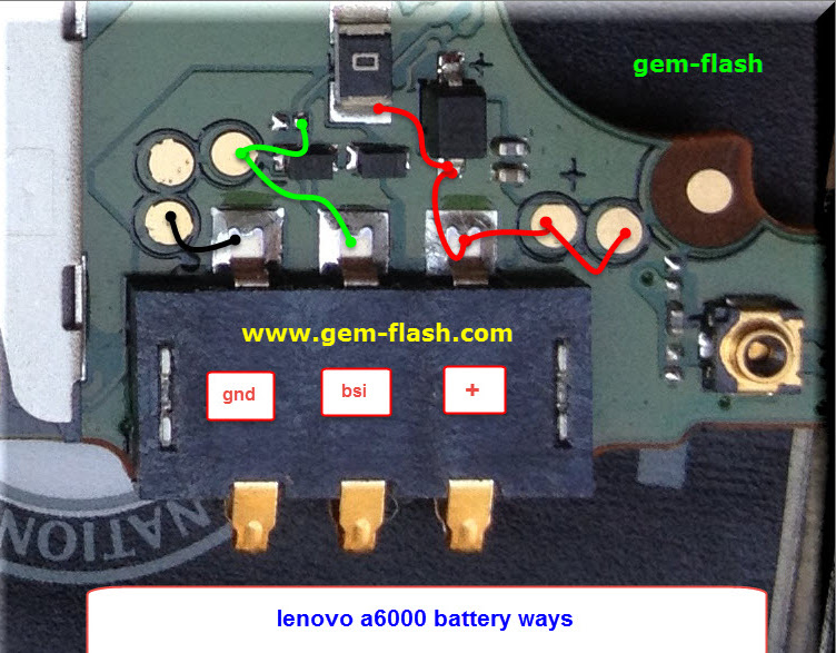 Lenovo A6000 Battery Connector Terminal Jumper Ways