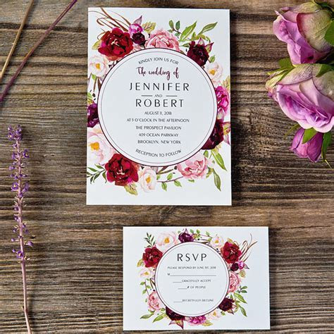 cheap burgundy floral boho wedding invitations EWI421 as