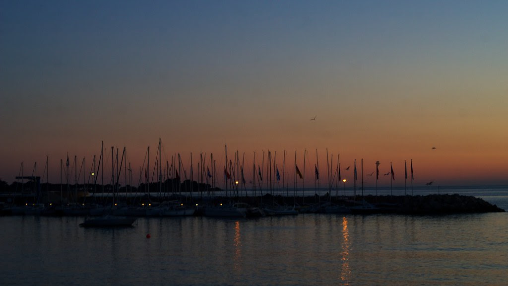 Cannes harbour sunset