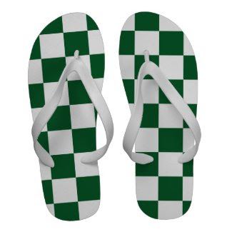 Checkered Green and White Flip Flops