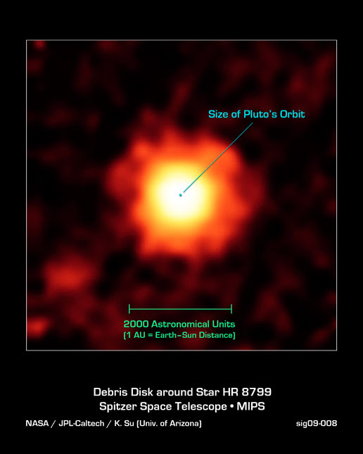 An infrared image of the young star HR 8799