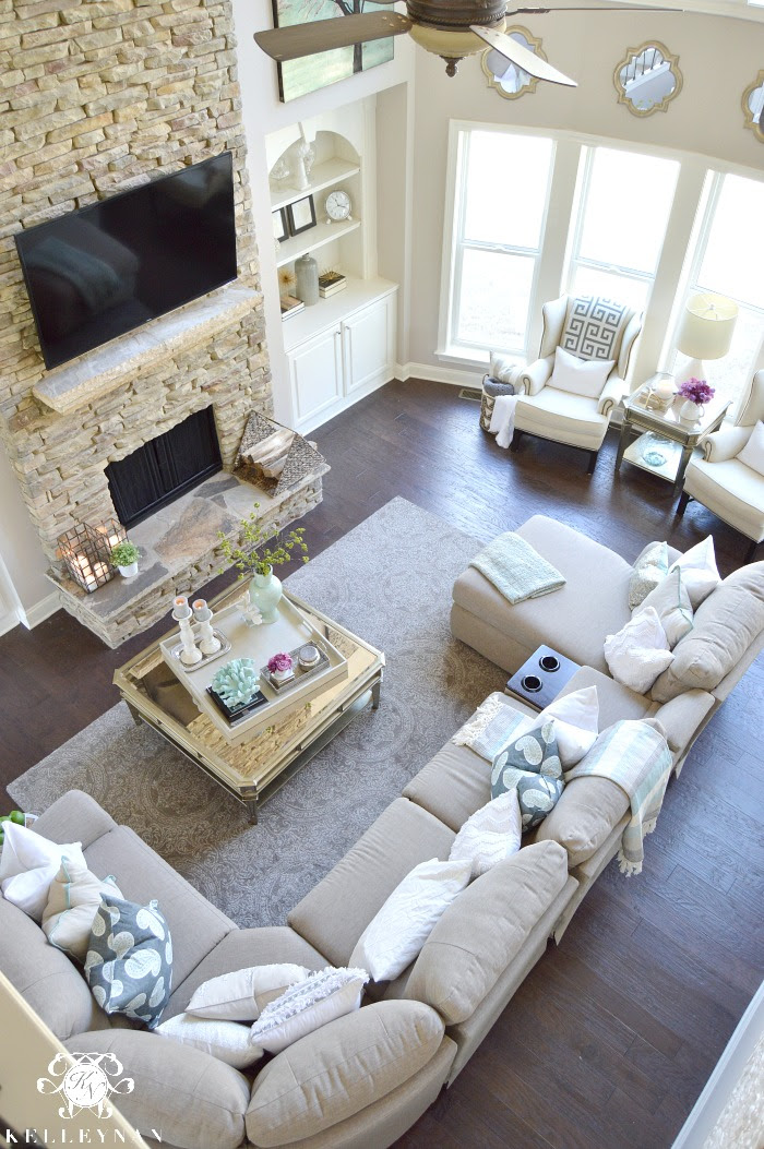 Cool Tone Spring Ready Living Room Tour | Kelley Nan