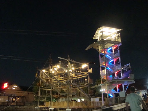 the zipline tower on the right