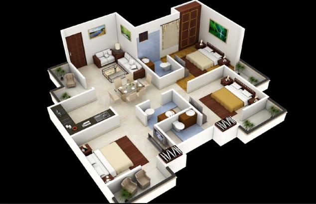 Denah Rumah Minimalis 3 Kamar Tidur 3d Sederhana 6 Desain Rumah Minimalis