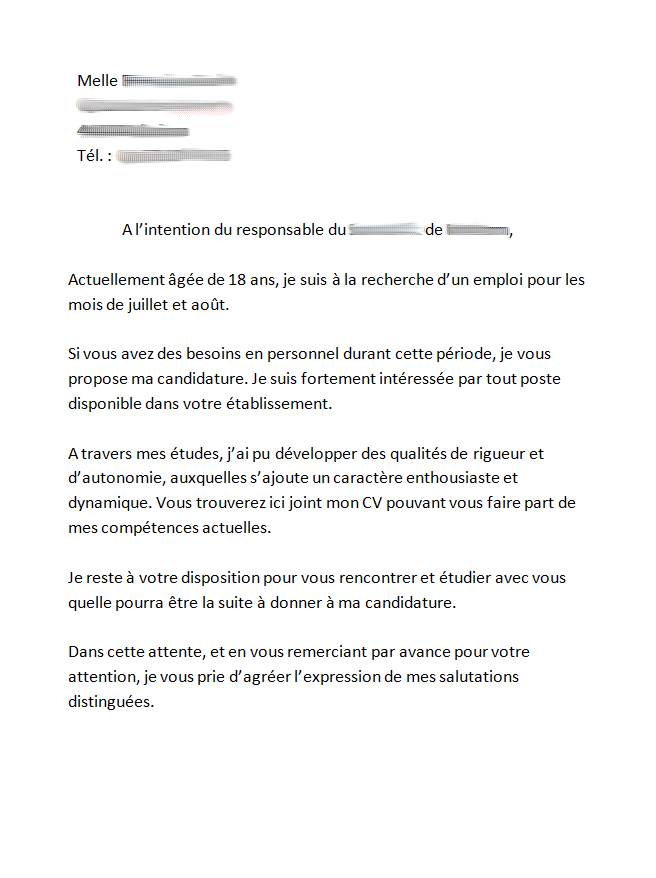 exemple lettre de motivation job d  u00c9t u00e9