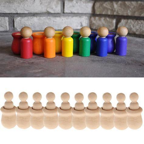 LanLan People Nesting Peg Dolls Wooden Unfinished DIY