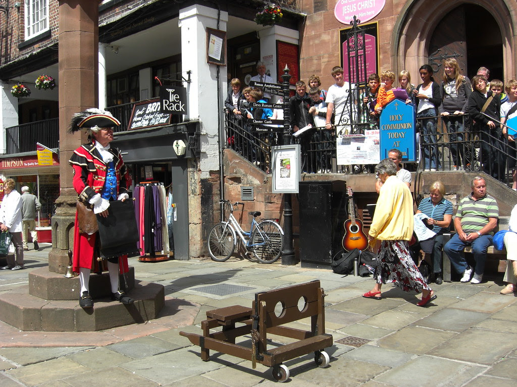 The Town Crier looks for a candidate for the stocks