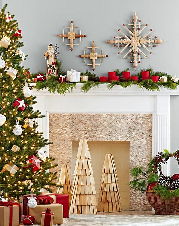 DIY wooden Christmas tree replicas and handmade snowflakes adorn the