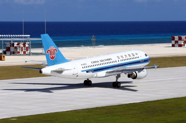 A Chinese airliner operating from China's airfield on Fiery Cross Reef in the South China sea in January. Xinhua Photo