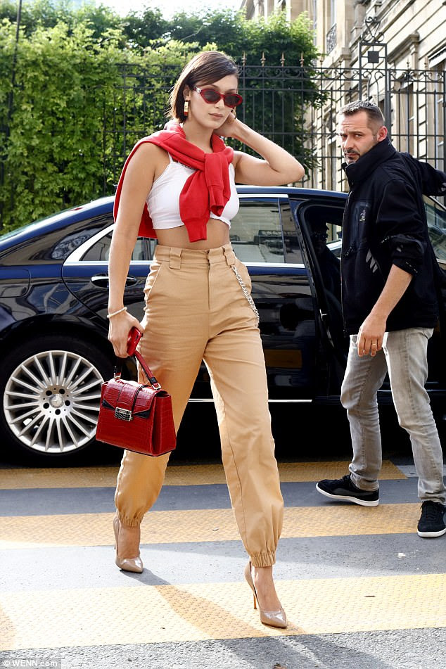 Super chic: While Kendall sported a casual look, Bella was the picture of elegance
