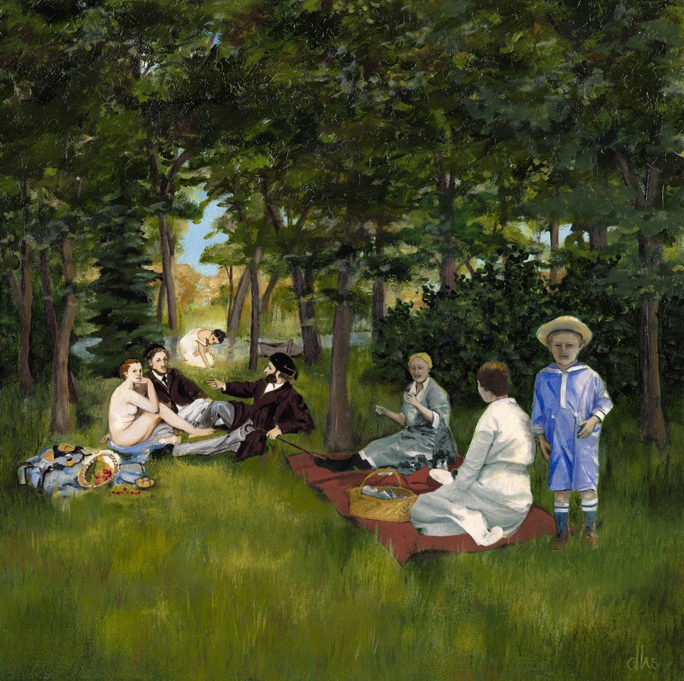 Original OIL Painting, Manet, Dejeuner dur l'herbe, green, forest, Summer Picnic, 14 x 14 on wood panel