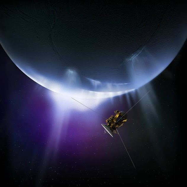 Cassini pictured making a fly-by of Enceladus