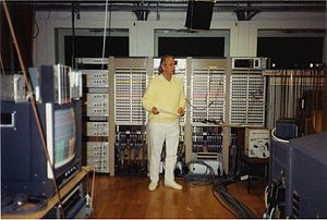 Karlheinz Stockhausen in the WDR Studio, 1991....