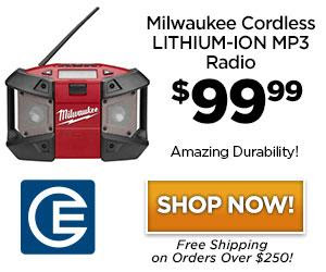 40% Savings on Milwaukee M12 Cordless LITHIUM-ION Job Site Radio / MP3 Player