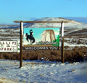 Wyoming state welcome sign, along Interstate 8...