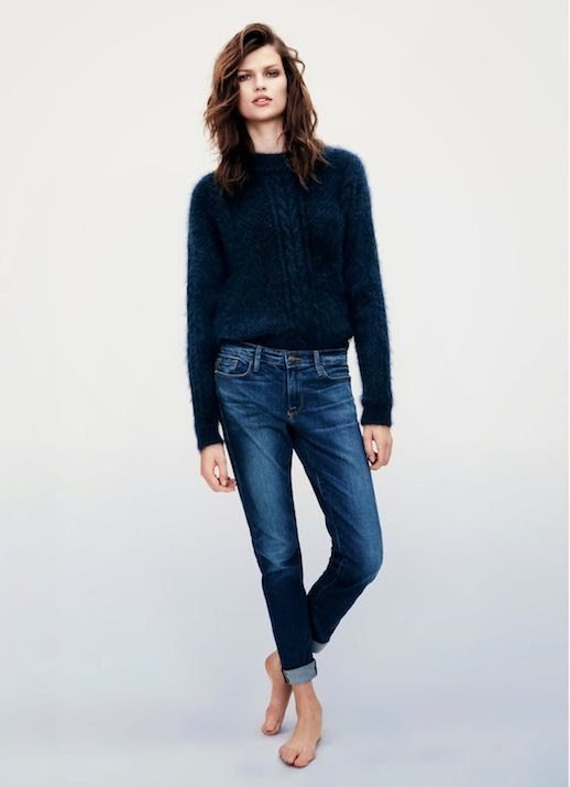 LE FASHION BLOG FUZZY SWEATERS DENIM FRAME DENIM FW 2013 LOOKBOOK NAVY BLUE MOHAIR ANGORA SWEATER SLIM BOYFRIEND STYLE JEANS ROLLED UP CUFFS CLASSIC COOL STYLE INSPIRATION MODEL BETTE FRANKE SIDE PART WAVY SHORT HAIR 2 photo LEFASHIONBLOGFUZZYSWEATERSDENIMFRAMEDENIMFW2013LOOKBOOK2.jpg