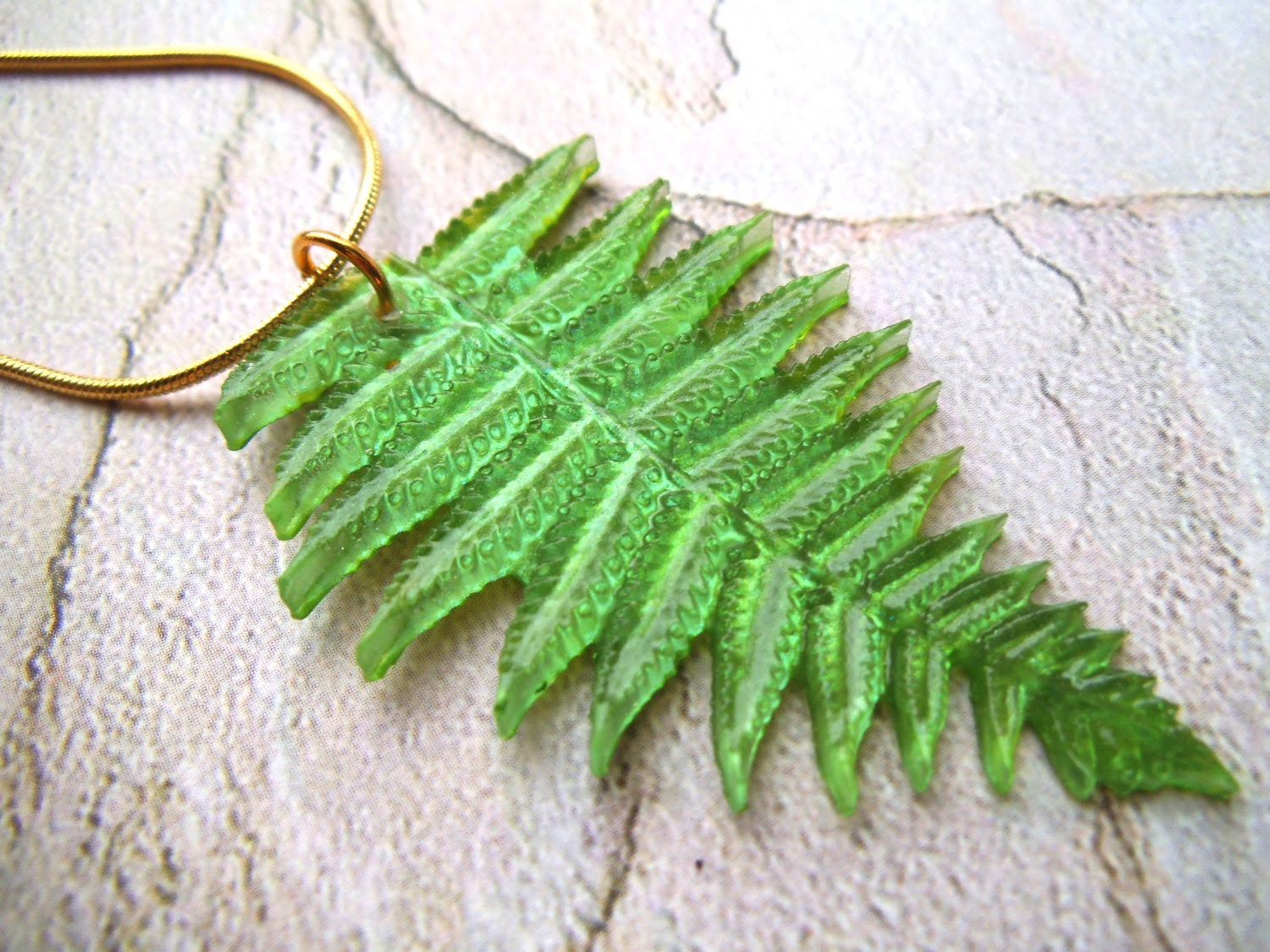 Green Leaf Necklace green necklace leaf jewelry fern necklace pendant necklace gold chain necklace fern jewelry pendant jewelry Boho - DefinitelyDifferent