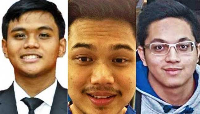 Wajah 3 pelajar Malaysia yang disoal siasat di Manchester, seperti dilaporkan akhbar The Times UK malam tadi.