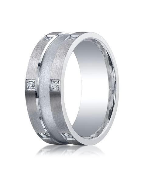 Argentium Silver Men's Wedding Ring 9mm Comfort Fit Pave