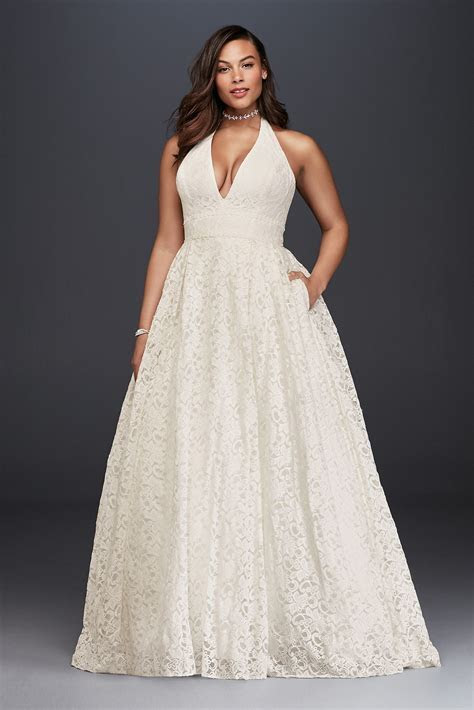 Plus Size Plunging Lace Halter Style Ball Gown Wedding