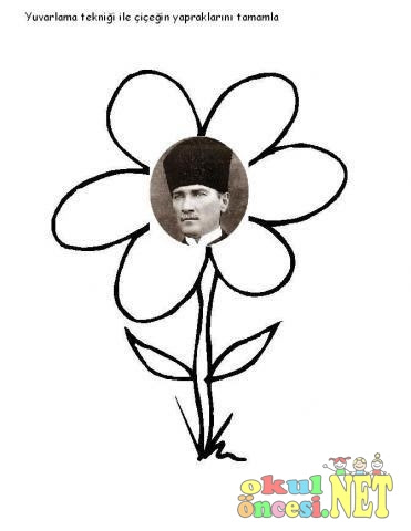 Okul öncesi Atatürk Resmi Boyama Gazetesujin