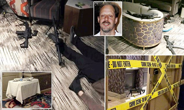 Pictured: Las Vegas shooter dead on the floor of his room