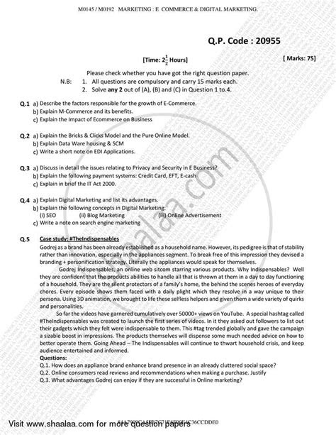 Question Paper - E-commerce and Digital Marketing 2017