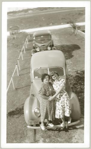 Two women on a bumper
