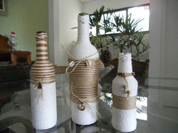 Como enfeitar garrafas e potes com barbante 012