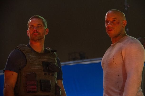 Paul Walker and Vin Diesel on the set of Fast & Furious 7.