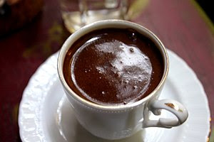 A cup of Turkish coffee served on a terrace in...