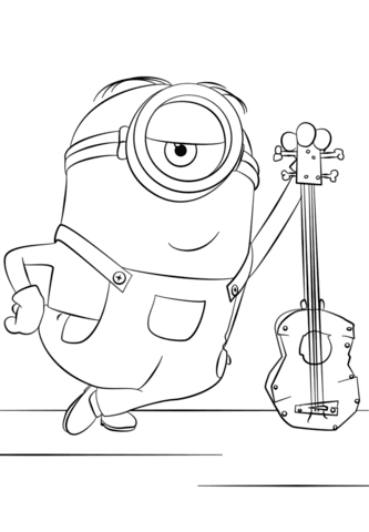 minion stuart with guitar coloring page  free printable