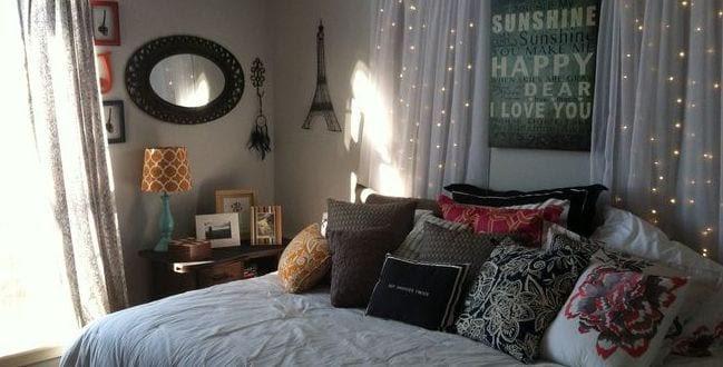 coole deko ideen schlafzimmer mit kreativer DIY Wanddeko ...