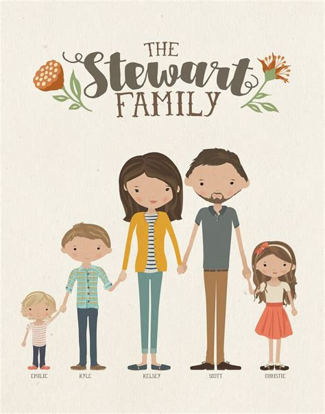 custom illustrated family portrait family drawing