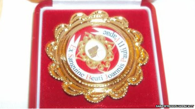 The stolen holy relic that contains the blood of the late Pope John Paul ll