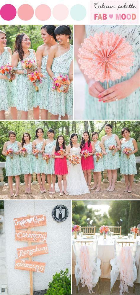 hot pink mint peach wedding colors palette