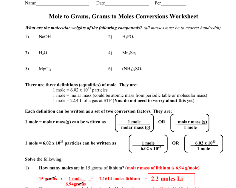 31 Molecular Mass And Mole Calculations Worksheet Answers ...