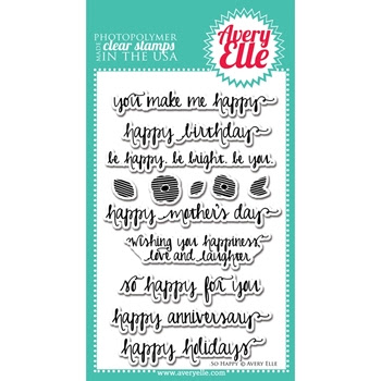 Avery Elle Clear Stamps SO HAPPY Set ST-14-14 or 021419