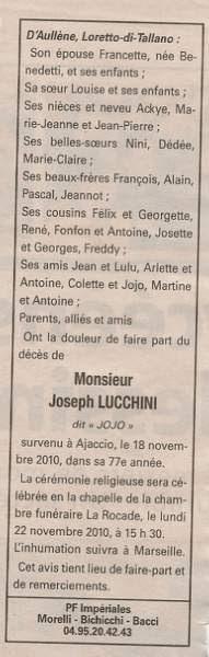 Décès Lucchini Joseph dit Jojo