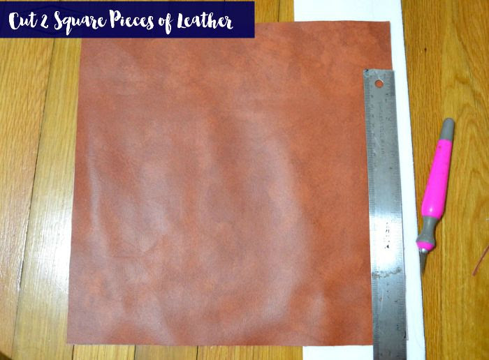 cut out two pieces of pleather fabric into equal squares