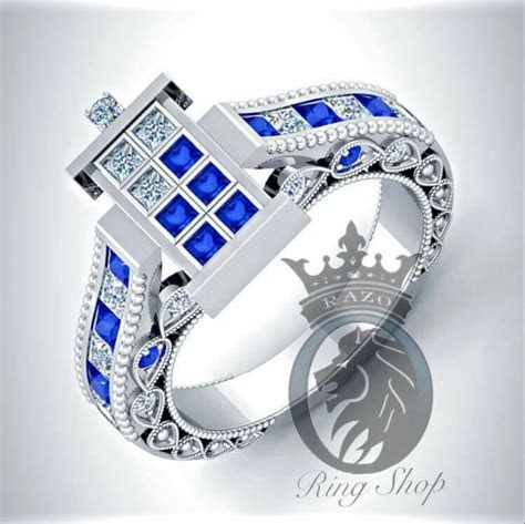 Beautiful Doctor Who 1/100th Scale TARDIS Engagement Rings