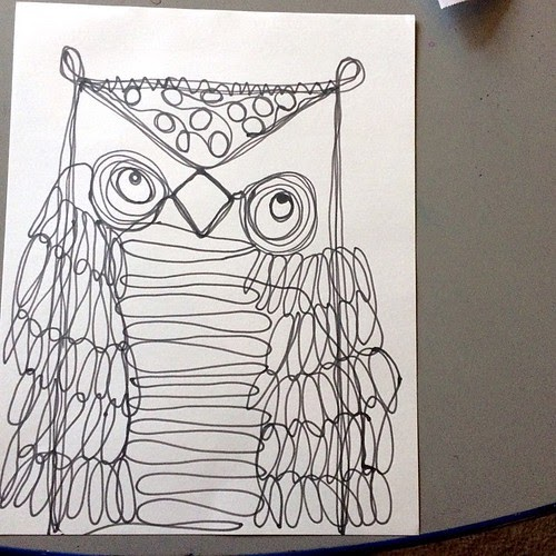 Line Drawing Vs Value Drawing : Stephanie shepherd continuous line art drawing owls