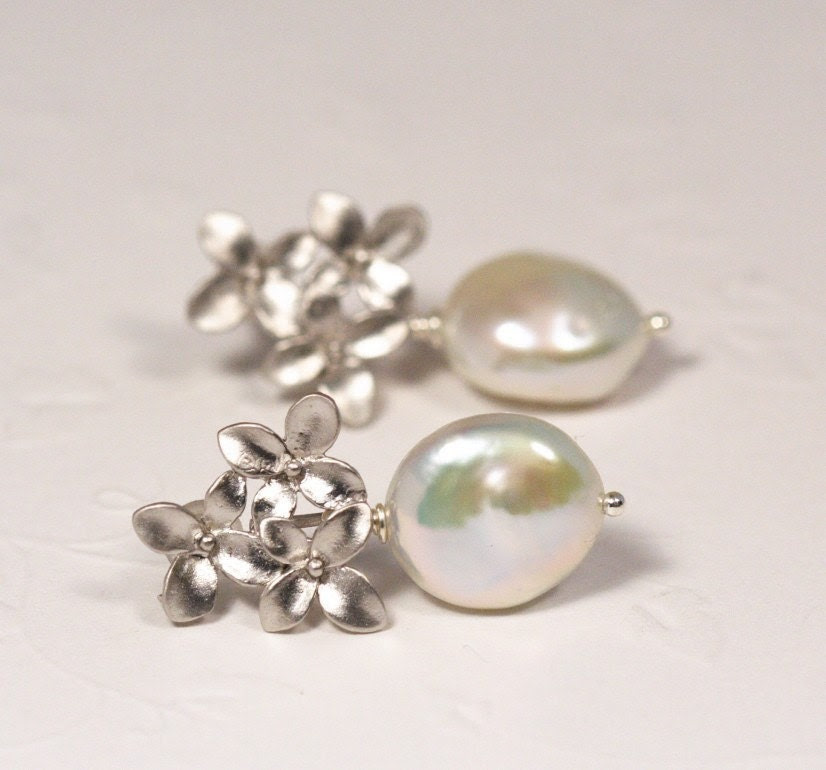 Ivory Pearl and Silver Bouquet Post Earrings Perfect For The Bride