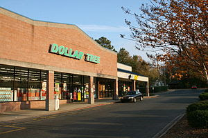 English: A Dollar Tree true dollar store and a...