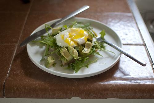 poached egg + arugula + toast + avocado