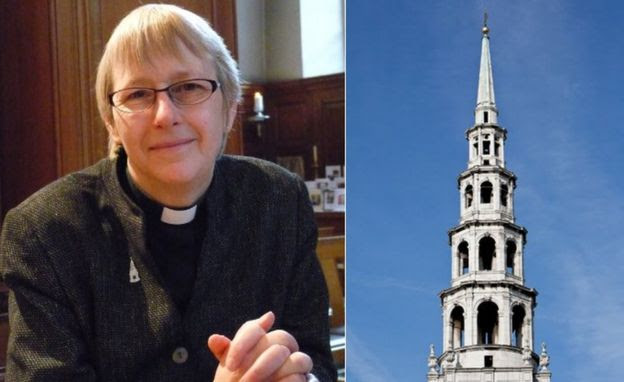 Dr Alison Joyce and the tower of St Bride's