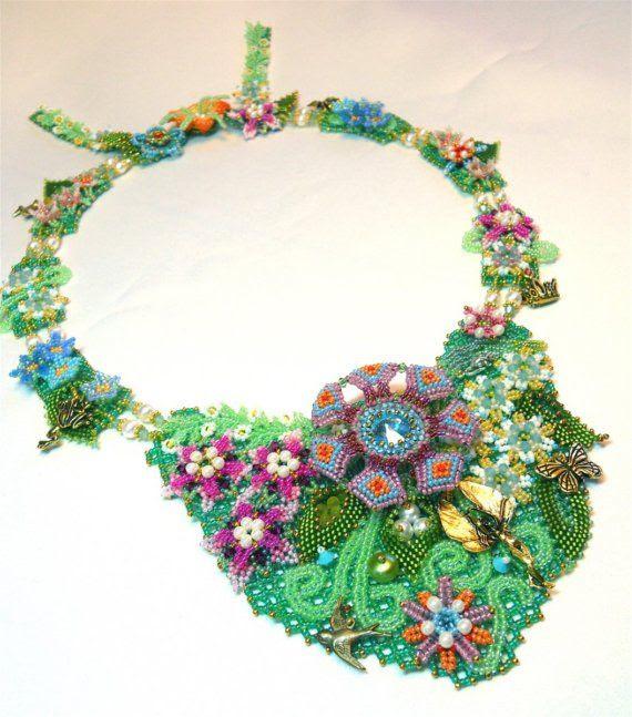 Thumbelina's Garden Necklace by thistledew4u on Etsy,