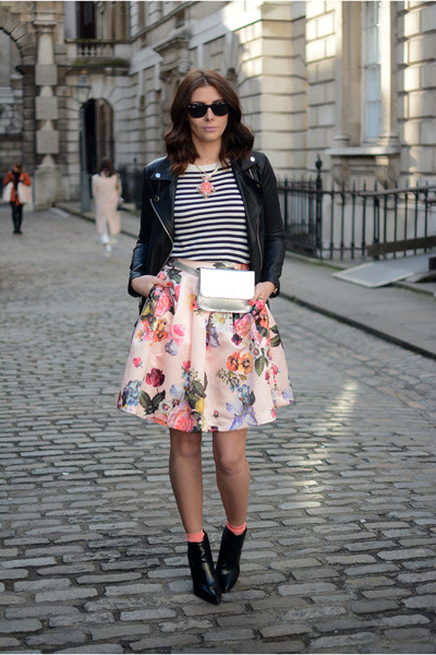 light pink ted baker skirt - black Bershka boots - black Forever 21 jacket